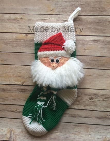 Download Santa Claus Christmas Stocking - Crochet Patterns immediately at Makerist