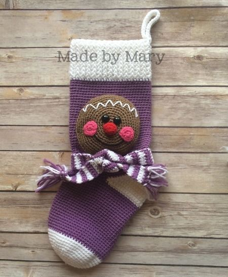 Download Gingerbread Christmas Stocking - Crochet Patterns immediately at Makerist