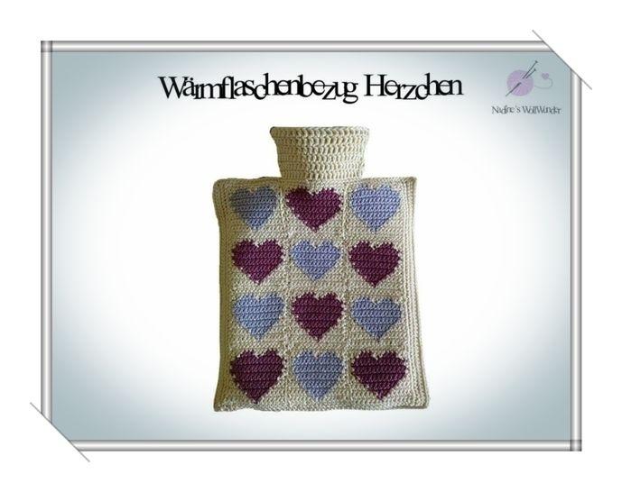 Häkelanleitung: Wärmflaschenbezug Herzchen - Häkelanleitungen bei Makerist sofort runterladen