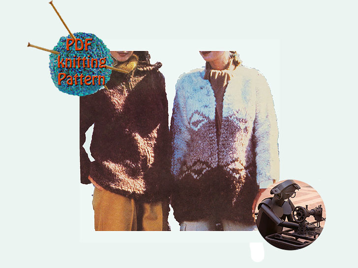 Download   Women hooded jacket and cardigan  - Size small medium & large - PDF Vintage knitting pattern - Knitting Patterns immediately at Makerist