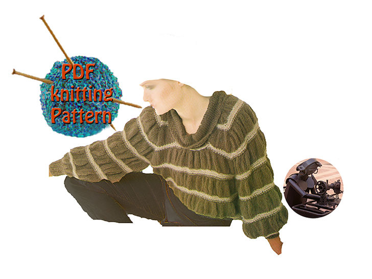 Download Women sweater gathered stripes - Size 32 to 36 - PDF Vintage knitting pattern    - Knitting Patterns immediately at Makerist