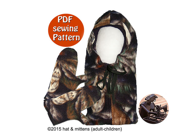 Download Hat and mittens with fleece polar fleece or wool fluffy for adults & children - PDF sewing pattern - French & English  - Sewing Patterns immediately at Makerist