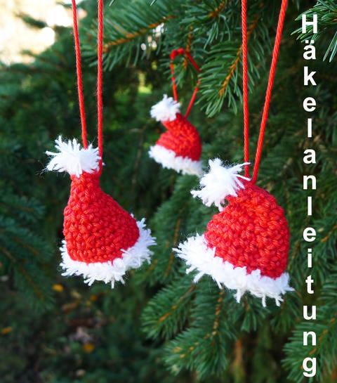 Häkelanleitung Weihnachtsmannmütze für den Christbaum bei Makerist sofort runterladen