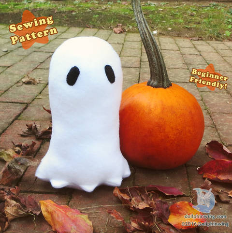Download Halloween Ghost Plushie PDF Sewing Pattern immediately at Makerist