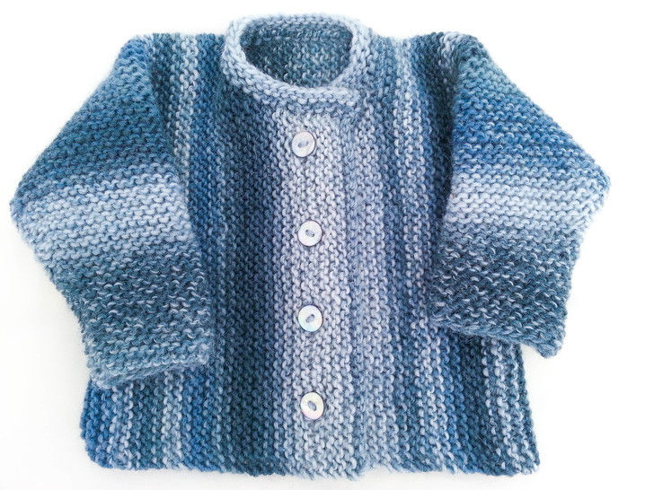 KNITTING PATTERN , Garter Stitch Baby Cardigan, One Piece Baby Sweater , 5 Sizes, Easy Pattern, Toddler Buttoned Sweater (en) - Strickanleitungen bei Makerist sofort runterladen