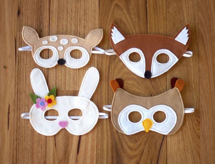 Woodland Animals Mask Pattern - Fox, Fawn, Owl and Bunny  (en) - Nähanleitungen bei Makerist sofort runterladen