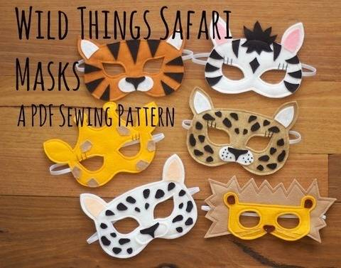 Wild Things - Lion, Leopard, Tiger, Giraffe, Zebra Masks / Costumes (en) bei Makerist sofort runterladen