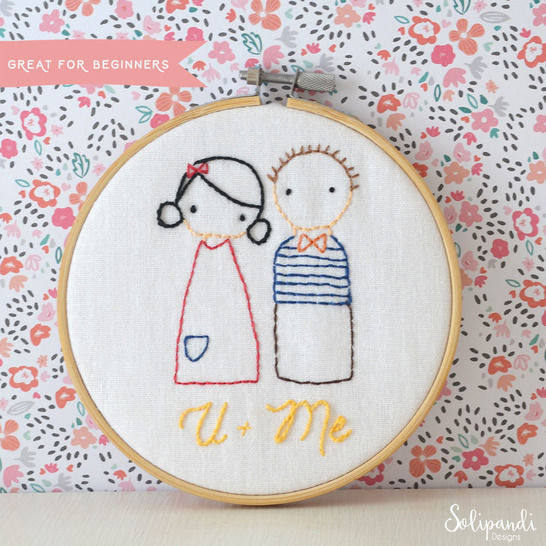 U + Me sweet couple, hand embroidery PDF pattern & instructions (en) - Stickmuster bei Makerist sofort runterladen