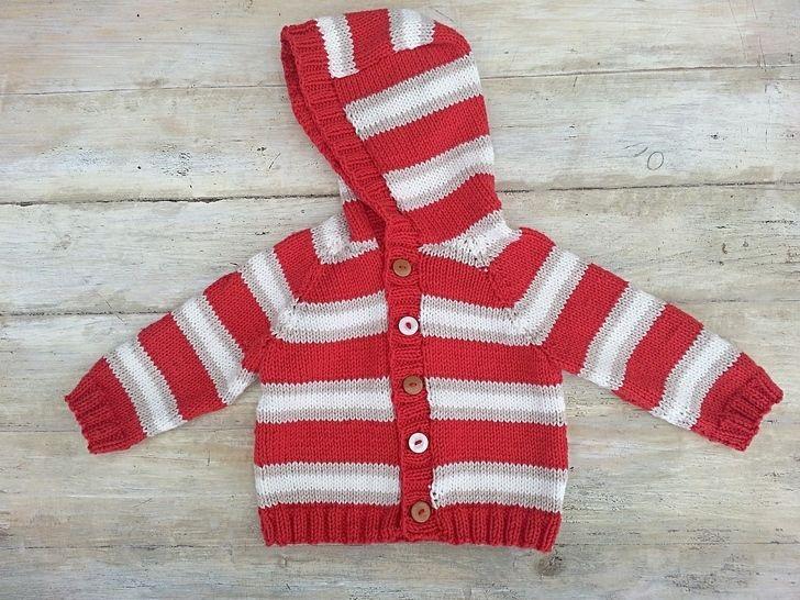 Kids Striped Raglan Sweater, Cardigan, Optional Hood , 6 Sizes, Knitting pattern (en) - Strickanleitungen bei Makerist sofort runterladen
