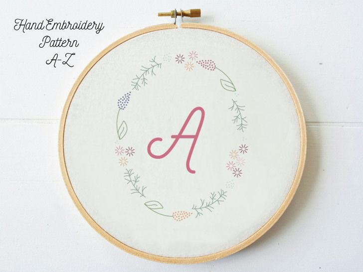 Bundle A-Z Letters in Floral Frame, hand embroidery PDF pattern & instructions (en) - Stickmuster bei Makerist sofort runterladen