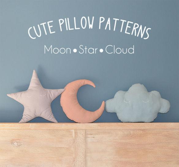 Moon - Star - Cloud Pillow Sewing Pattern // Make your own // Toy Pattern  (en) - Nähanleitungen bei Makerist sofort runterladen