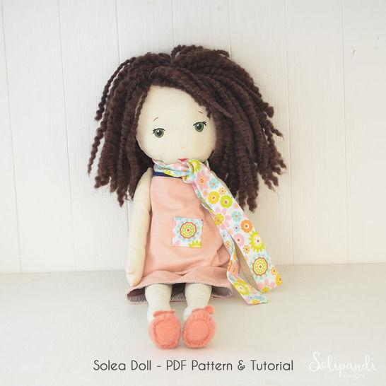 Solea fabric doll pdf pattern/tutorial // Make your own rag doll // Ragdoll pattern // Doll Making Project // Cloth Doll Pattern //Solipandi (en) - Nähanleitungen bei Makerist sofort runterladen
