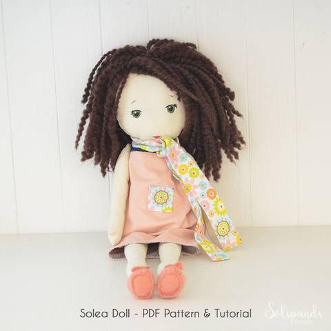 Solea fabric doll pdf pattern/tutorial // Make your own rag doll // Ragdoll pattern // Doll Making Project // Cloth Doll Pattern //Solipandi (en) bei Makerist sofort runterladen