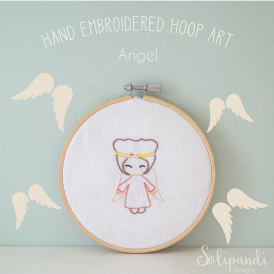 Singing Angel // Hand Embroidery Design PDF Pattern - Instand Digital Download // Great for Beginners // Easy pattern // Solipandi #100 (en) - Stickmuster bei Makerist sofort runterladen
