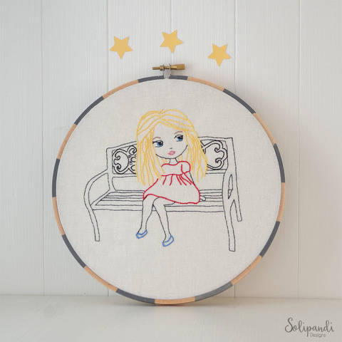 Little Blond Girl Sitting on Park Bench, Hand Embroidery PDF Pattern (en) bei Makerist sofort runterladen