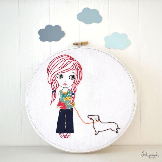 Little girl with dog, Hand Embroidery PDF Pattern - Instant Digital Download (en) - Stickmuster bei Makerist sofort runterladen