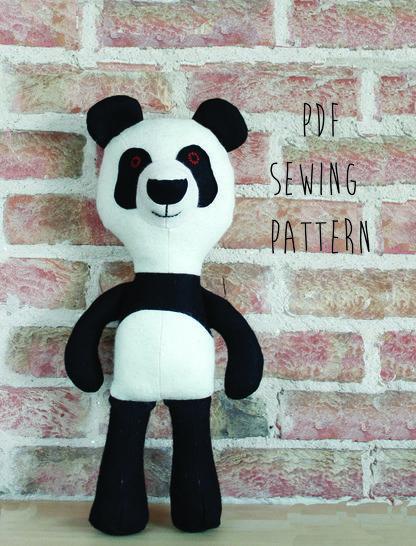 Panda pattern, panda teddy bear sewing pattern (en)