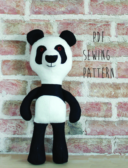 Panda pattern, panda teddy bear sewing pattern  (en) - Nähanleitungen bei Makerist sofort runterladen