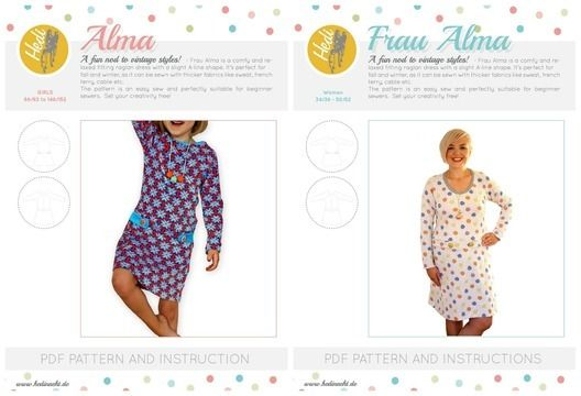 """Download Set: """"Frau Alma"""" and """"Alma"""" for kids and women.  - Sewing Patterns immediately at Makerist"""