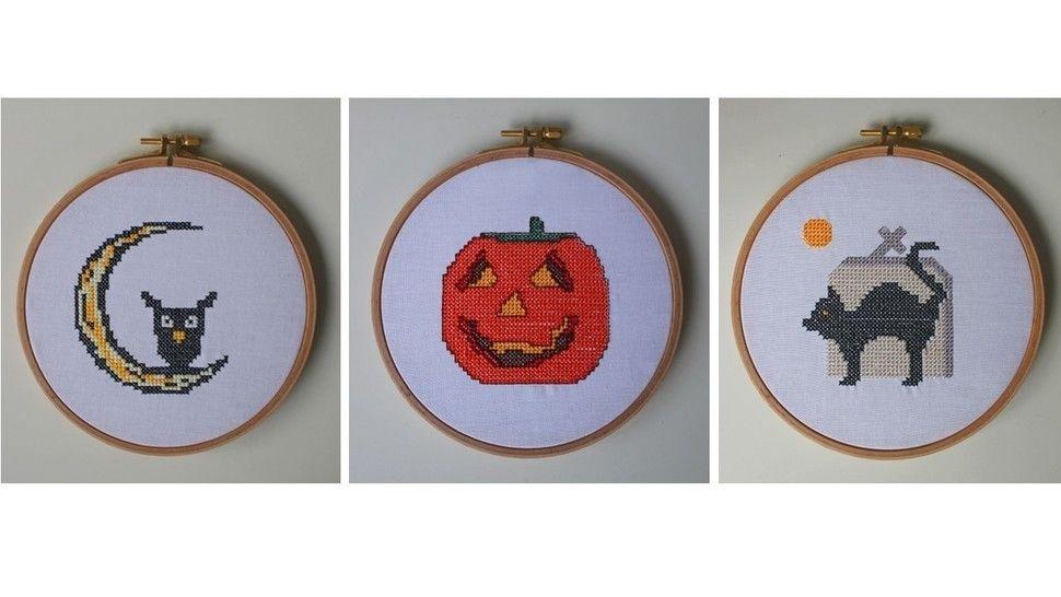 3 Stickdateien im Kreuzstich: Halloween - Stickdateien bei Makerist sofort runterladen