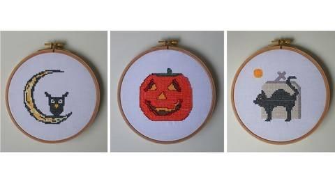 3 Stickdateien im Kreuzstich: Halloween bei Makerist sofort runterladen