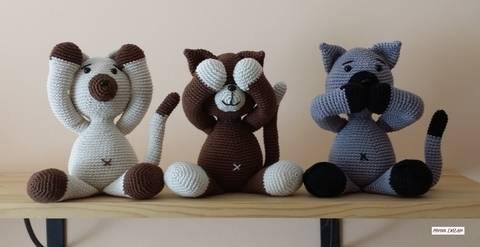 Häkelanleitung Katzentrio bei Makerist sofort runterladen