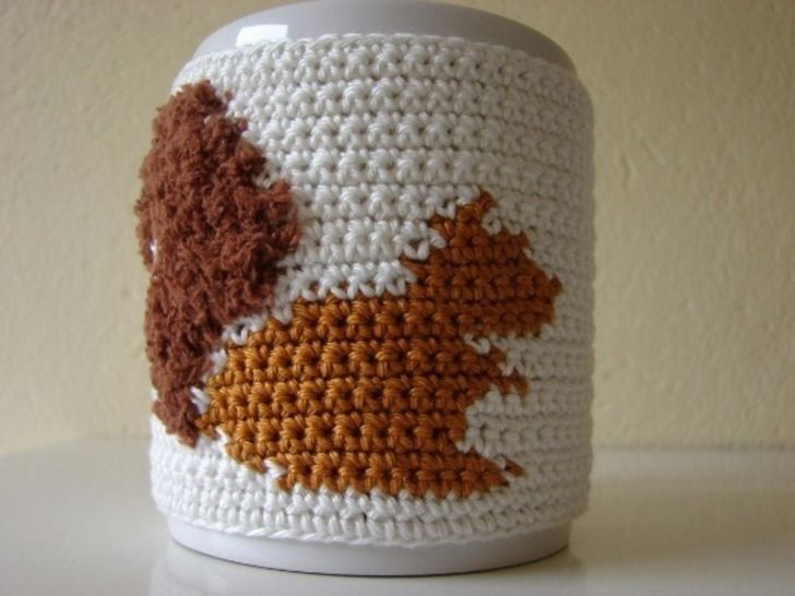 Mug Cosy Squirrel Crochet Pattern Coffee Sleeve Chipmunk