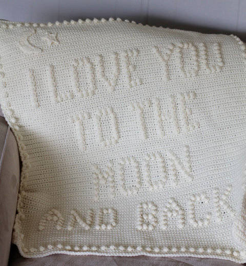 Download I Love You to The Moon and Back Baby Blanket immediately at Makerist