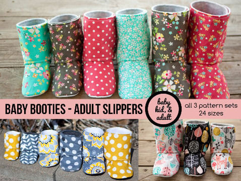 Download Bootie Pattern Bundle - Baby, Kids, Tween, Adult, doll sizes - Sewing Patterns immediately at Makerist