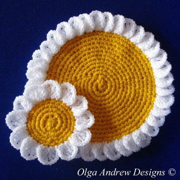 Download Camomile/daisy doily and coasters crochet pattern 053 - Crochet Patterns immediately at Makerist