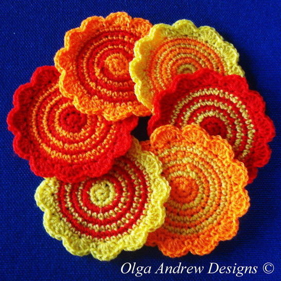 Download Spriped round coasters crochet pattern 054 - Crochet Patterns immediately at Makerist