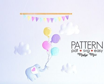 Download Baby Mobile Pattern - Elephant and Balloons Sewing Pattern - Sewing Patterns immediately at Makerist
