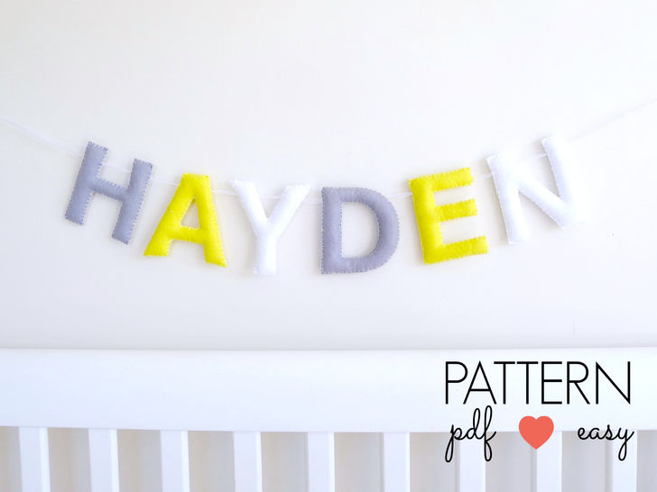 Download Felt Name Sign Letter Garland Sewing Pattern - Sewing Patterns immediately at Makerist