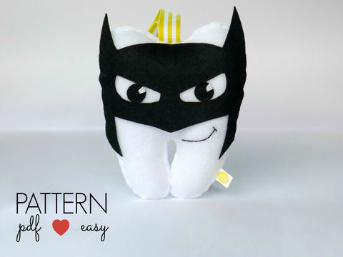 Download Batman Tooth Pillow  Felt Sewing Pattern - Sewing Patterns immediately at Makerist