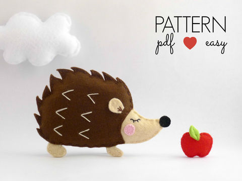 Download Hedgehog Felt Sewing Pattern - Felt Ornament - Woodland Animal - Sewing Patterns immediately at Makerist
