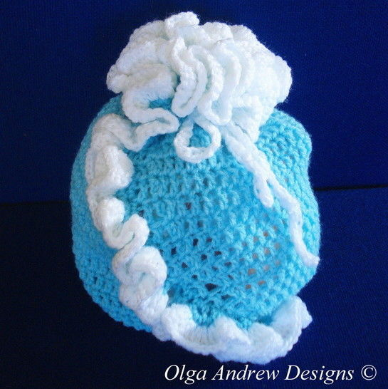 Download Gift bag with ruffle crochet pattern 009 - Crochet Patterns immediately at Makerist