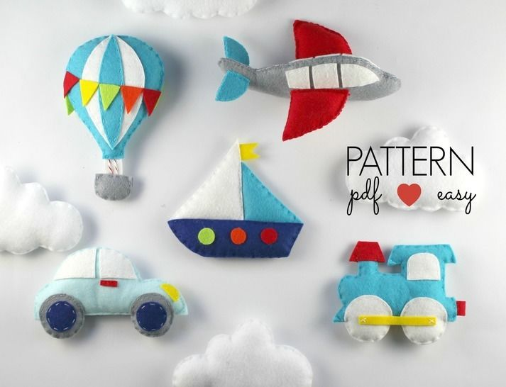 Download Transportation Pattern Set - Train, Car, Hot Air Balloon, Aeroplane, Boat Felt Sewing Pattern - Sewing Patterns immediately at Makerist
