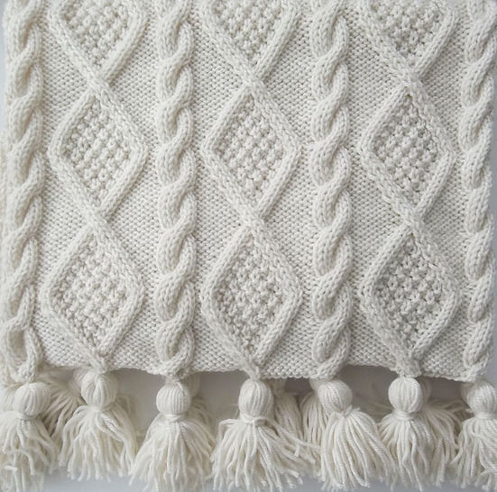Aran Cable Scarf And Blanket Throw Knitting Pattern