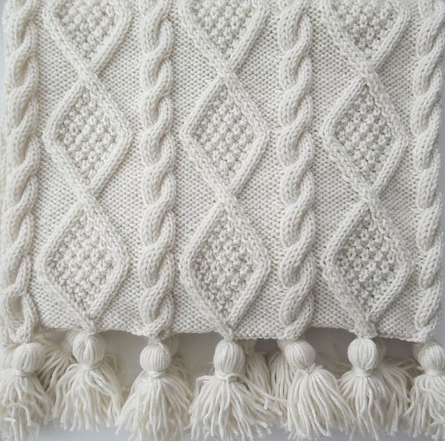 Aran Cable Scarf and Blanket Throw