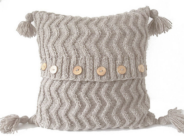 Aran Chevron Cable Cushion Knitting Pattern