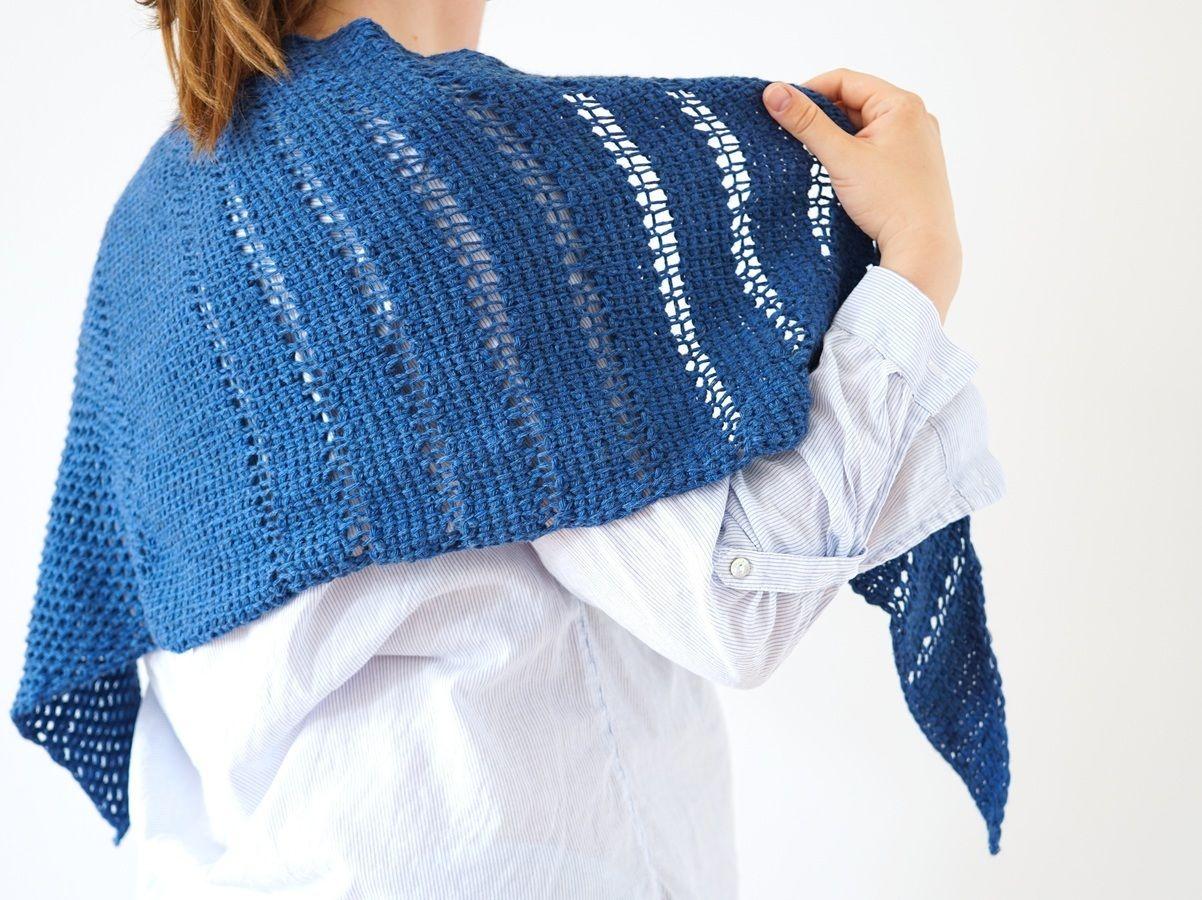 Tunisian Crochet Pattern Triangle Shawl Schneberg
