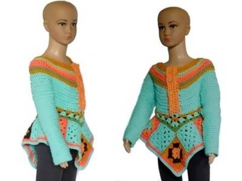 Häkelanleitung, Tunika, bzw Blusenkleid 110/116 bei Makerist sofort runterladen