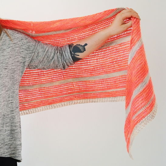 Download Tunisian Crochet Pattern Triangle Shawl Peaches - Crochet Patterns immediately at Makerist