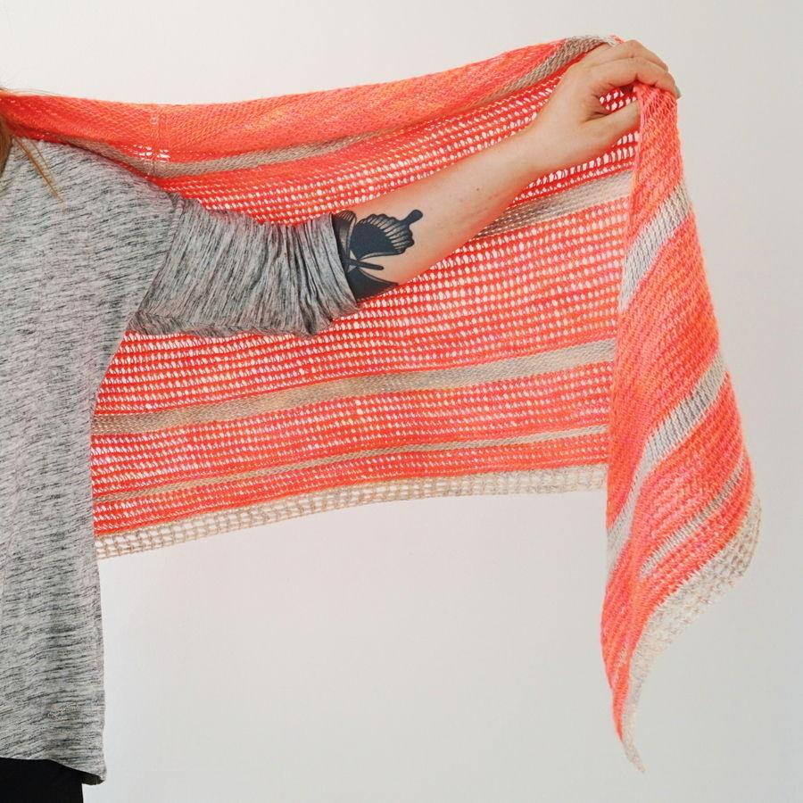 Tunisian Crochet Pattern Triangle Shawl Peaches