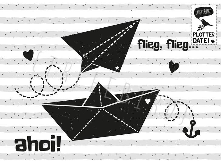 """Plotterdatei """"Papierboot und Papierflieger"""" - Plotterdateien bei Makerist sofort runterladen"""
