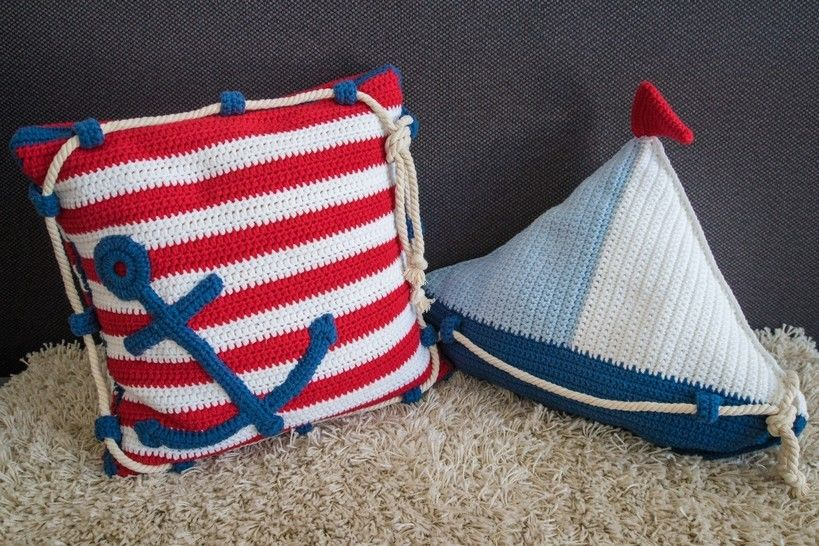 Download Crochet Pattern Sail Boat Pillow and Anchor Pillow - HANKIDS - Crochet Patterns immediately at Makerist
