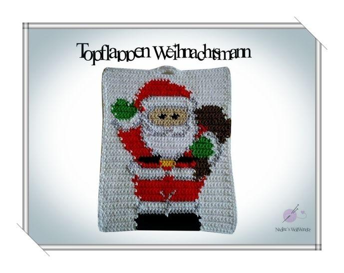 Häkelanleitung: Topflappen Weihnachtsmann - Häkelanleitungen bei Makerist sofort runterladen