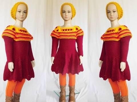 **Häkelanleitung* Winterkleid Mirja, Größe 110/116 bei Makerist sofort runterladen