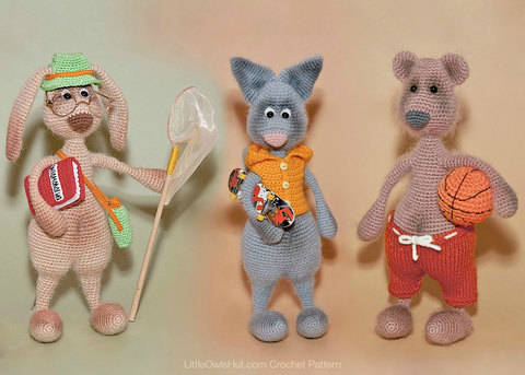 Download 062 Hare, Bear and Cat with accessories Mak Borisenko immediately at Makerist