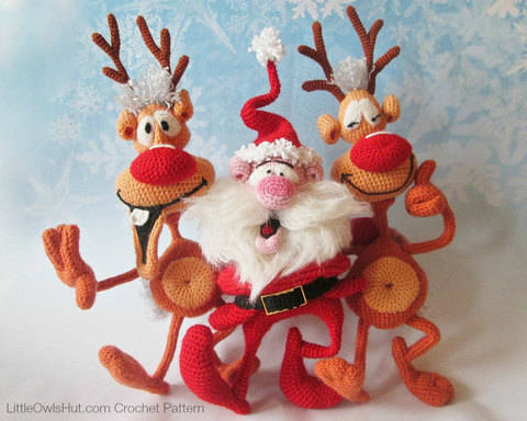 Download S8 Santa and Reindeers - 2 Amigurumi Crochet Patterns immediately at Makerist